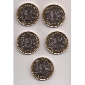 Argentina 5 Monedas De 2 Pesos Año 2016 Bicentenario