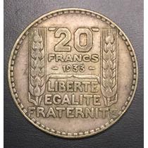 Fra017 Moneda Francia 20 Francs 1933 Vf Plata Ayff