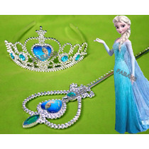 Disfraz Kit De Elsa Y Anna Corona + Cetro Princesa Frozen