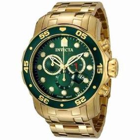 Relogio Invicta Pro Diver 0075 Original Dourado Verde 12x Sj