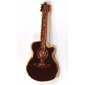 Bótom Pim Broche Violão Instrumento Musical Folheado A Ouro