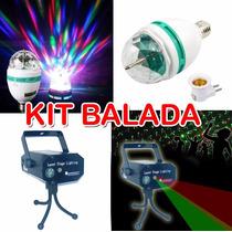 Kit Balada Mini Projetor Laser C/efeitos 3d + Bola Maluca