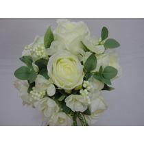 Buque Rosa Noiva Branca Bouquet Casamento Artificial