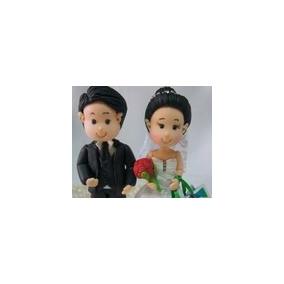 Casal Noivinhos De Biscuit Casamento Topo De Bolo.