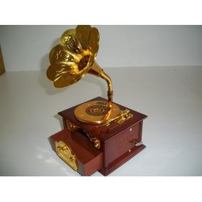 Kit 2 Pecas Caixa De Musica Vitrola E Telefone Gil Antigo