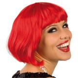 ¡ Peluca Corta De Fantasía Para Fiestas & Halloween Rojo !!