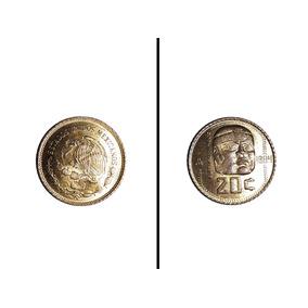 Moneda Antigua 20 Centavos México 1984 Cabeza Olmeca