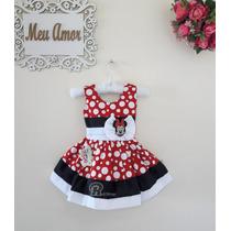 Vestido Casual Minie Bebe Menina Minnie Vermelho Ou Rosa