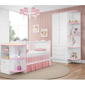 Kit Quarto Infantil Branco Rosa Berço E Guarda Roupa Qmovi