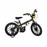 Bicicleta Infantil Menino Batman 16 C/ Rodinhas E Garrafinha