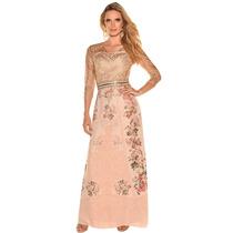 Vestido Vestido Longo Detalhe Renda Moda Evangélica Bege