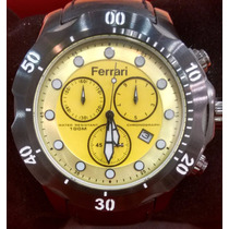 Relógio Ferrari Pulseira Couro Fundo Amarelo Ou Vermelho