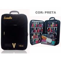 Maleta Mochila P/ 72 Esmalte Bolsa Nylon Manicure Preta