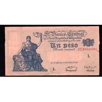 Billete 1 Peso Moneda Nacional Progreso Bottero 1837 Mal Cor
