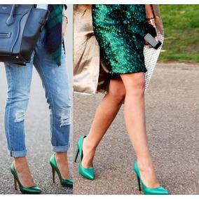 Zapato Sergio Rossi Verde ,burberry,vuitton,fendi,bcbg,tous