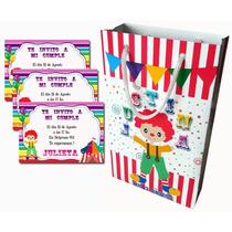 Circo Payasos 30 Bolsitas+30 Invitaciones+envio Gratis