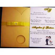 Convite De Casamento Papel Perolado Metalizado 10 Unidade