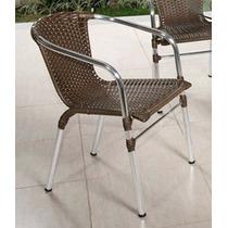 Cadeira De Alumínio Em Fibra De Junco Sintético Para Varanda