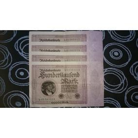 Lote - Billetes Consecutivos /100.000 Marcos Alemanes (1923)
