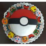 Torta Pokemon 2 Kg (2 Cortes) + 12 Cupcakes Rellenos De D/l