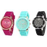 Relojes Geneva Modelo Hkwatch Silicon De Dama Full Colores