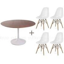 Conjunto Mesa Saarinen 107 Cm + Cadeira Eames Dkr Wood
