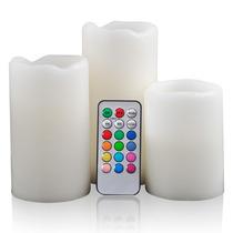 Velas Led Parafina (kit C/ 3) Multi Color Controle Remoto
