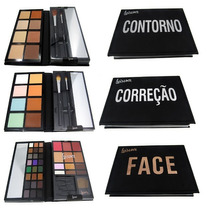Kit 3 Maletas Maquiagem Paletas: Correção / Contorno / Face