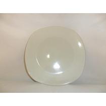 Trinche Plato Cuadrado De Loza 25.5 Cm Color Blanco