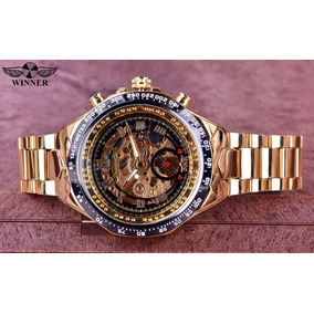 Reloj Winner Skeleton Automatico Original Dorado + Pulsera
