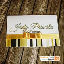 5 Convites 15 Anos Dourado Preto Com Foto Laço Fita De Cetim