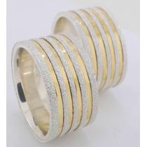Par Alianças Prata 950 10mm E 4 Filetes De Ouro 18k