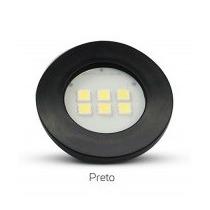 Spot Preto Redondo- Embutir Em Moveis 6 Leds Branco Quente