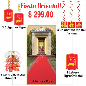Fiesta Oriental Adornos $299 Centro Mesa Chino Alfombra Roja
