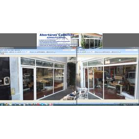 Frente De Negocio Aluminio Blanco Vidrio Blindex Zona Flores