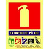Placa Extintor Pqs Abc 20x15cm Identificada Npt 20 Bombeiros