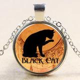 Conjunto Cadena Y Dije Plata Tibetana Gato Negro Importado