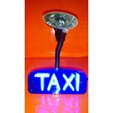 Aviso De Taxi Con Luz Led Azul.