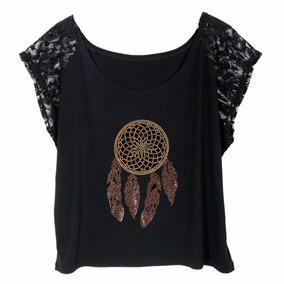 Blusa Camiseta Feminina Preta Strass Metal Plus Size Renda