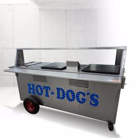 Carrito Hot Dogs Hamburguesas Carro Carreta Puesto Inoxidabl