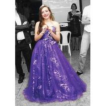 Vestido Debutante Longo 15 Anos Lilás De Oncinha Oferta!!!