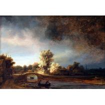 Lienzo Tela Puente De Piedra Rembrandt Arte Decoración 50x70