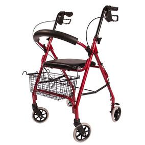 Andadera Andador 4 Ruedas Aluminio Plegable Asiento Canasta