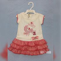 Vestido Manga Curta Bebê Menina Saia Rosa Piang Pee