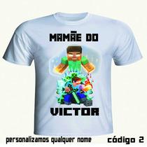 Kit Aniversário Minecraft 6 Camisetas Personalizadas