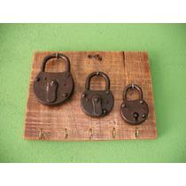 Porta Chaves Cadeados Antigos De Ferro - Decoração (415)