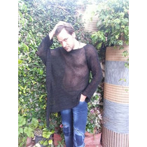 Sweater Poncho Irregular Tejido Artesanal Hombre Hasta Xxxl