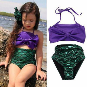 Traje De Baño De Niña De La Sirenita Ariel Bikini
