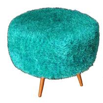 Pufe Puff Banqueta Com Crochê Verde - Coleção Pelúcia