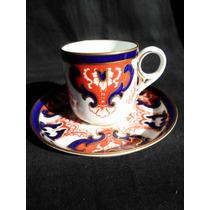 Antigua Taza De Cafe En Porcelana Inglesa Royal Crow Derby